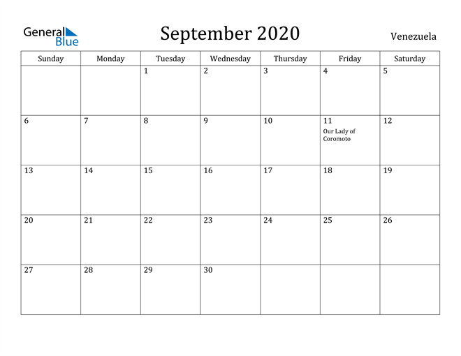 Image of September 2020 Venezuela Calendar with Holidays Calendar