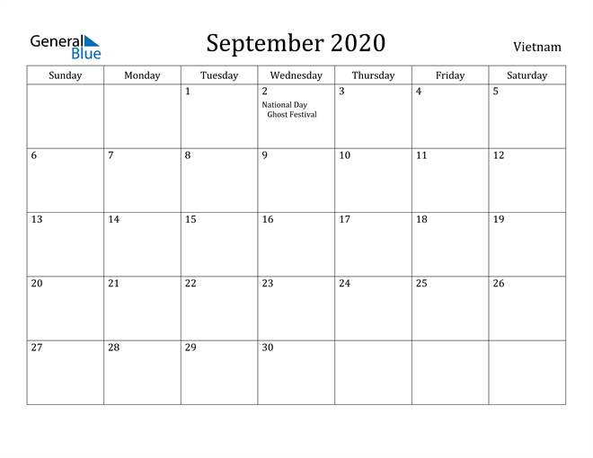 Image of September 2020 Vietnam Calendar with Holidays Calendar