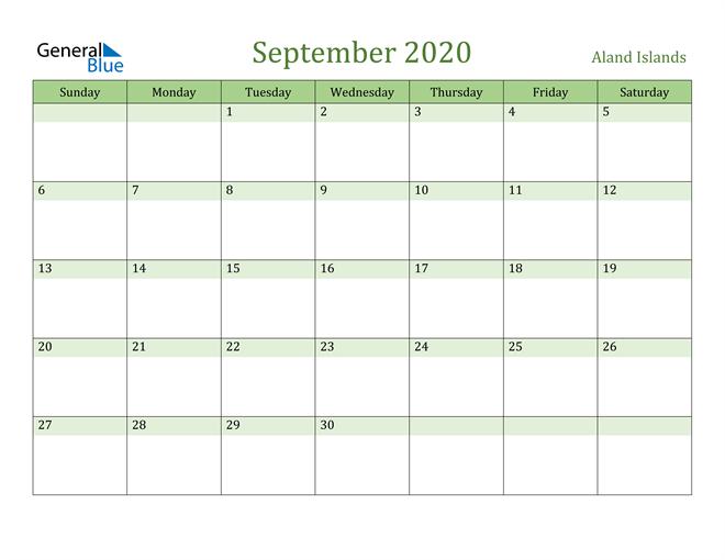 September 2020 Calendar with Aland Islands Holidays