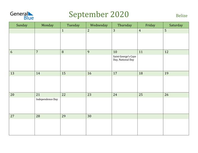 September 2020 Calendar with Belize Holidays