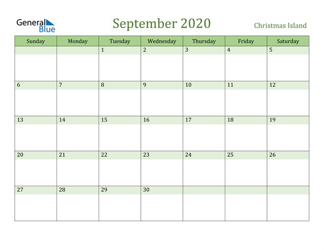 September 2020 Calendar with Christmas Island Holidays