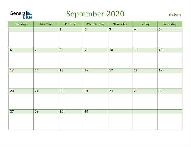 September 2020 Calendar with Gabon Holidays