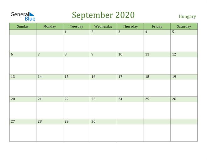 September 2020 Calendar with Hungary Holidays