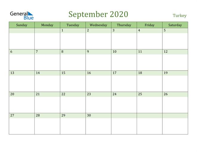 September 2020 Calendar with Turkey Holidays