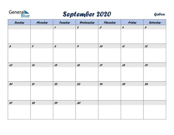 September 2020 Calendar with Holidays