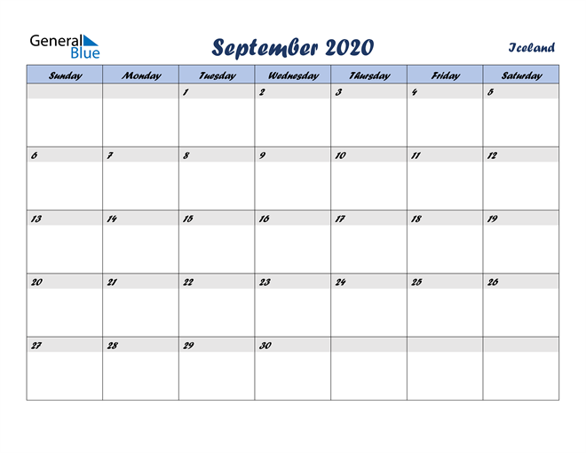 Image of September 2020 Italicized and Cool Blue, A Fun Calendar in PDF, Word and Excel Calendar