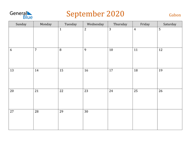 September 2020 Holiday Calendar