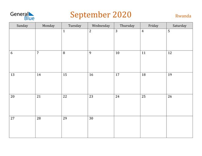 September 2020 Contemporary Orange PDF, Word and Excel Calendar Calendar