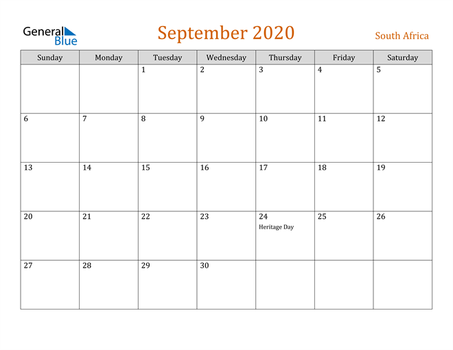 Image of September 2020 Contemporary Orange PDF, Word and Excel Calendar Calendar