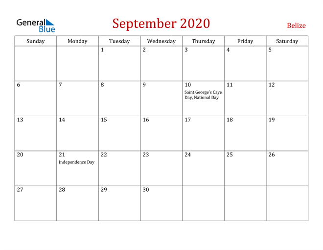 Belize September 2020 Calendar