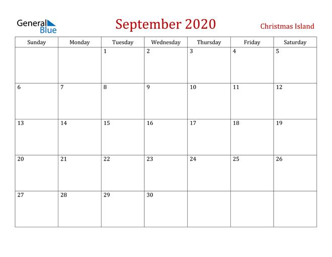 Christmas Island September 2020 Calendar