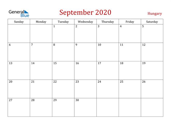 Hungary September 2020 Calendar