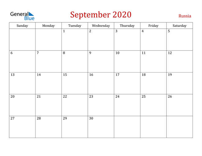 Russia September 2020 Calendar