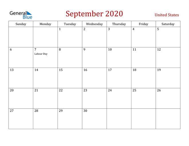 United States September 2020 Calendar