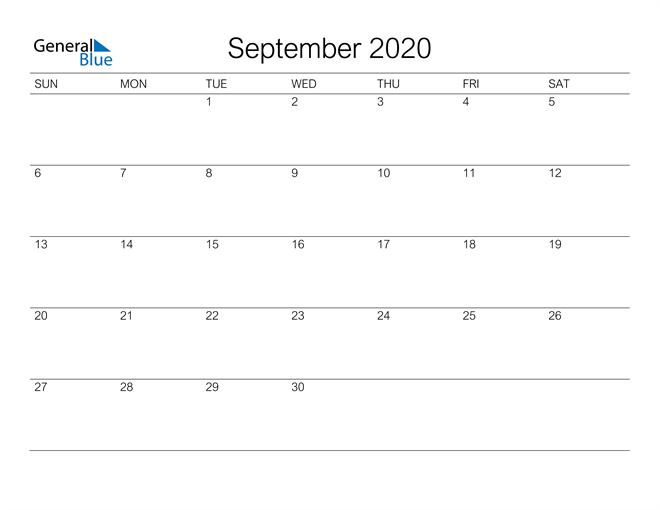 Image of September 2020 A Streamlined Design, The Perfect Printable Calendar. Calendar