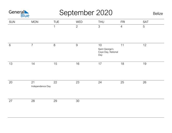 Printable September 2020 Calendar for Belize