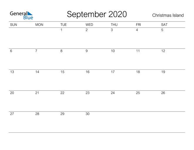 Printable September 2020 Calendar for Christmas Island