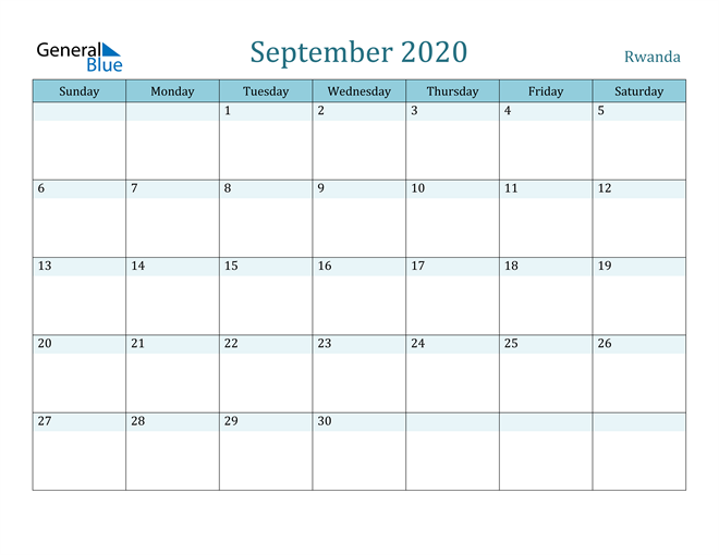 September 2020 Colorful Turquoise Calendar in PDF, Word and Excel Calendar