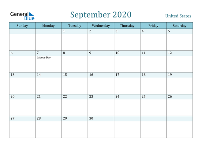 September 2020 Calendar with Holidays in PDF, Word, and Excel