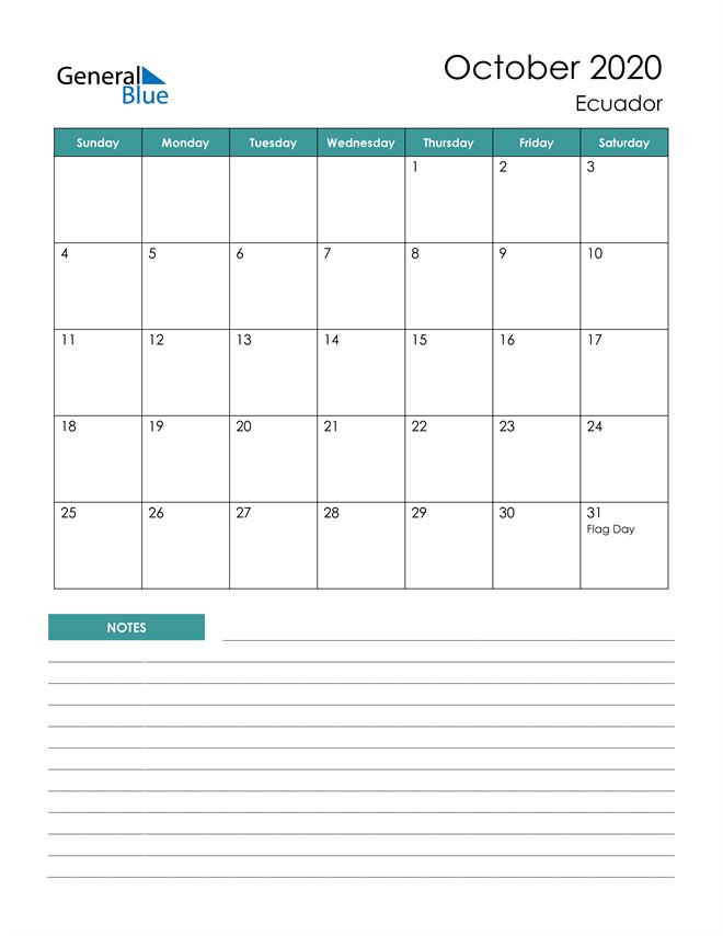 Calendar with Notes Printable