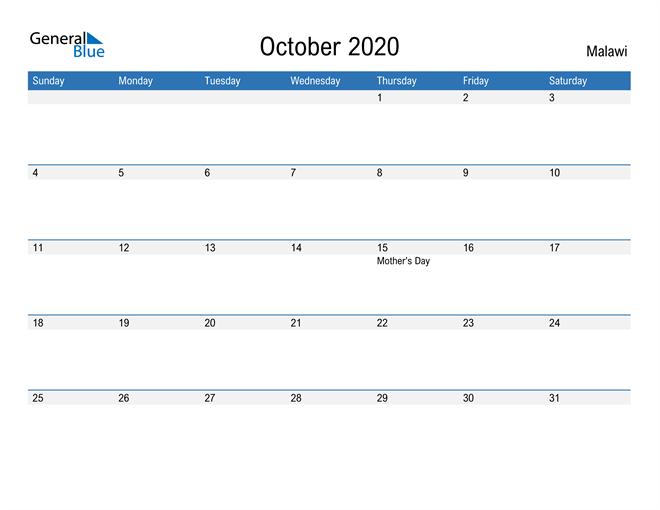 Fillable October 2020 Calendar