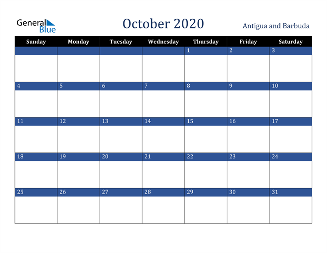 October 2020 Stylish Dark Blue Calendar in PDF, Word and Excel Calendar
