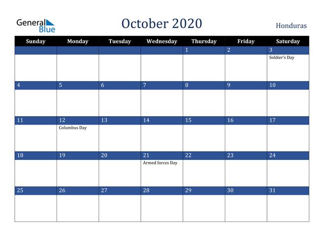 October 2020 Honduras Calendar