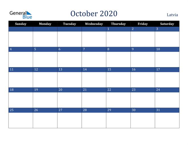 October 2020 Latvia Calendar