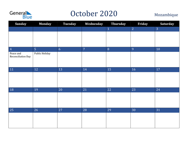 October 2020 Mozambique Calendar