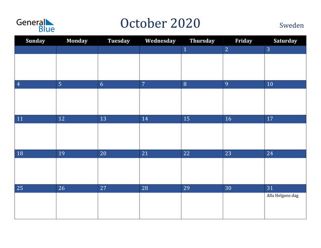 Image of October 2020 Stylish Dark Blue Calendar in PDF, Word and Excel Calendar