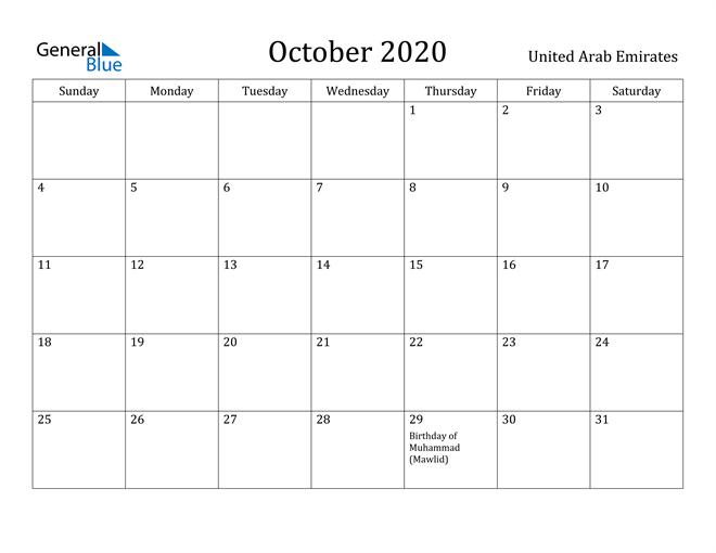 Image of October 2020 United Arab Emirates Calendar with Holidays Calendar
