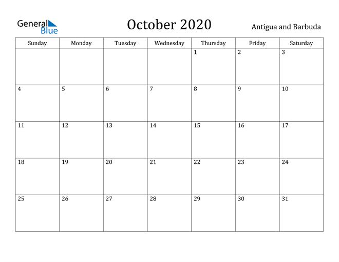 Image of October 2020 Antigua and Barbuda Calendar with Holidays Calendar