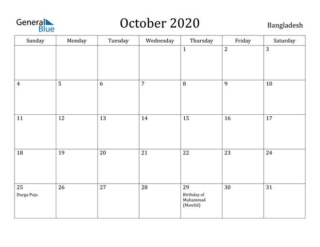 Image of October 2020 Bangladesh Calendar with Holidays Calendar