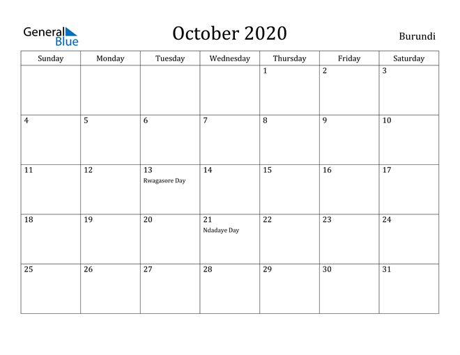 Image of October 2020 Burundi Calendar with Holidays Calendar