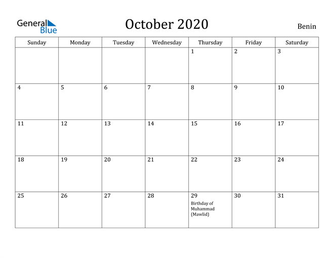 Image of October 2020 Benin Calendar with Holidays Calendar