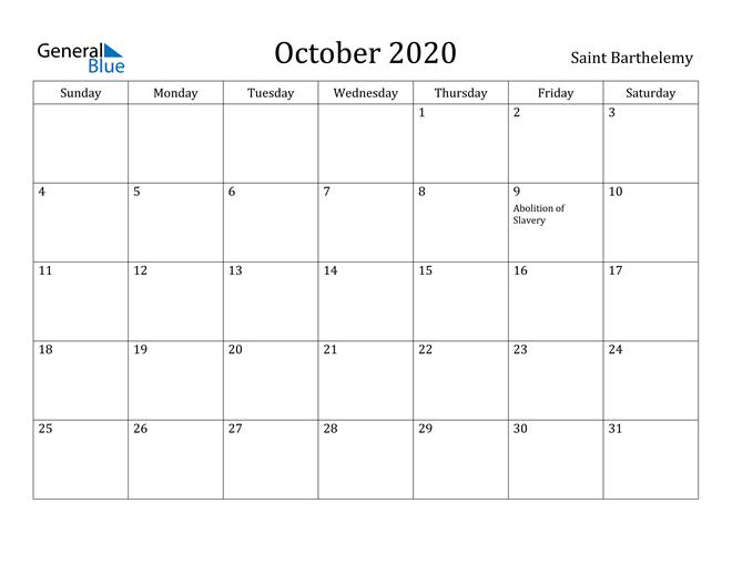 Image of October 2020 Saint Barthelemy Calendar with Holidays Calendar