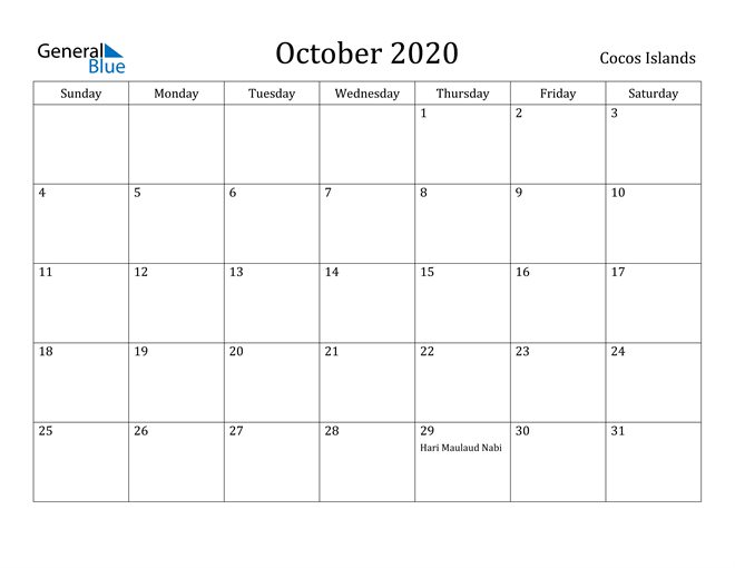 Image of October 2020 Cocos Islands Calendar with Holidays Calendar