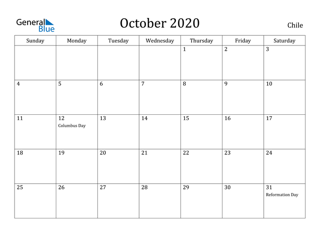 Image of October 2020 Chile Calendar with Holidays Calendar