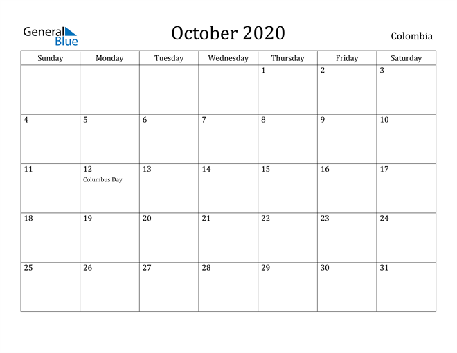 Image of October 2020 Colombia Calendar with Holidays Calendar