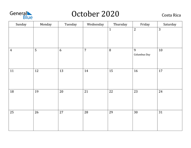 Image of October 2020 Costa Rica Calendar with Holidays Calendar
