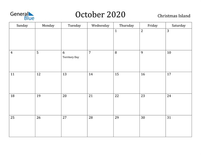 Image of October 2020 Christmas Island Calendar with Holidays Calendar