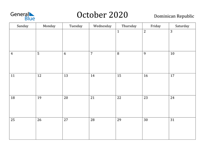 Image of October 2020 Dominican Republic Calendar with Holidays Calendar