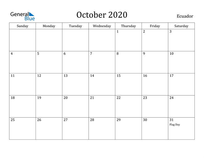 Image of October 2020 Ecuador Calendar with Holidays Calendar