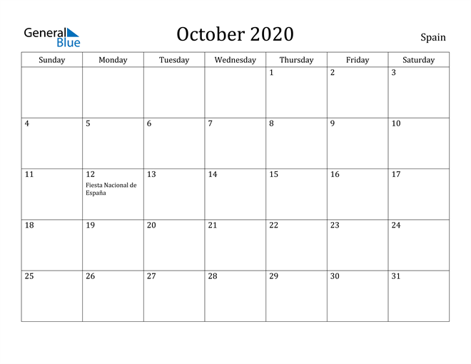 Image of October 2020 Spain Calendar with Holidays Calendar
