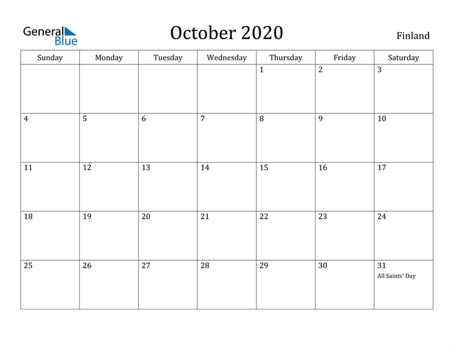 Image of October 2020 Finland Calendar with Holidays Calendar