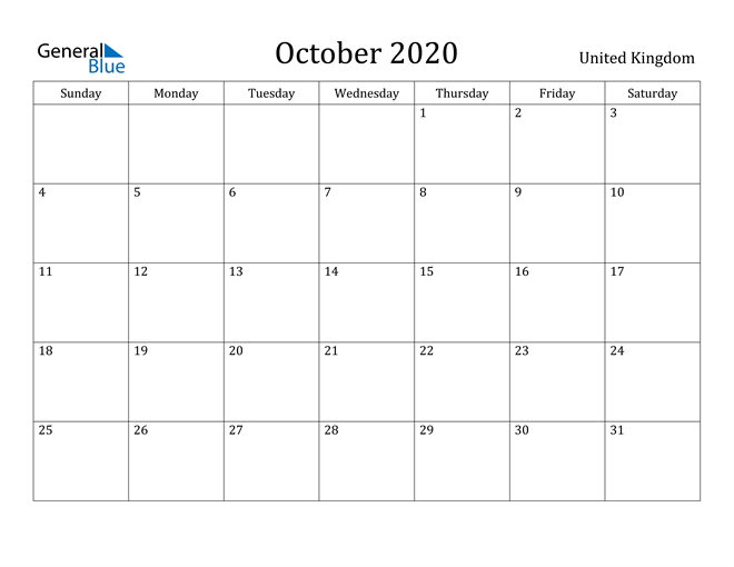 Image of October 2020 United Kingdom Calendar with Holidays Calendar