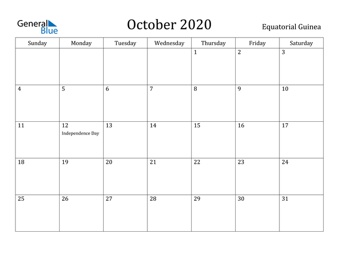 Image of October 2020 Equatorial Guinea Calendar with Holidays Calendar