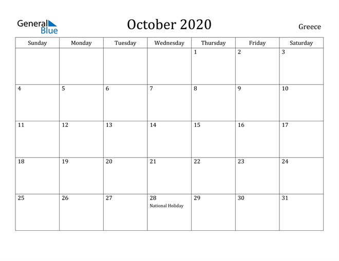 Image of October 2020 Greece Calendar with Holidays Calendar