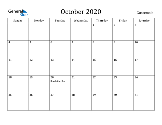 Image of October 2020 Guatemala Calendar with Holidays Calendar