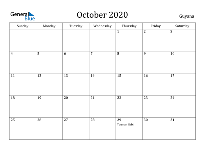 Image of October 2020 Guyana Calendar with Holidays Calendar